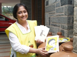 Poonam Kasturi with some of the products offered by the Daily Dump